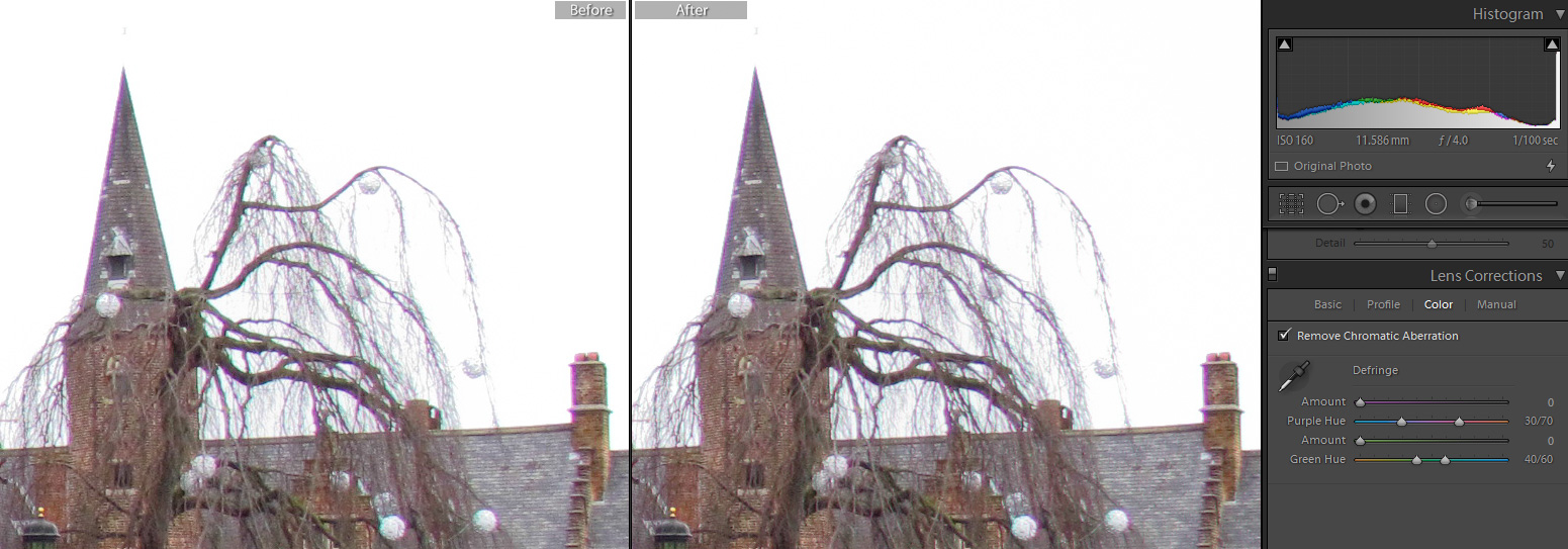 automatic removal of the chromatic aberration - left: original; right: automatic correction