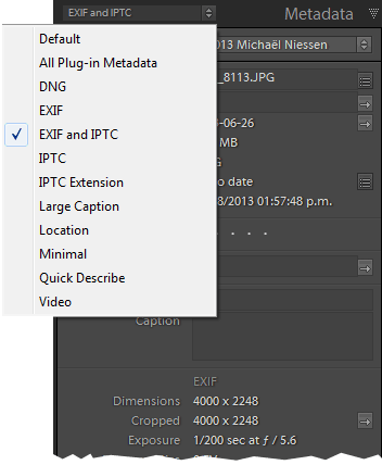 Exif and IPTC metadata