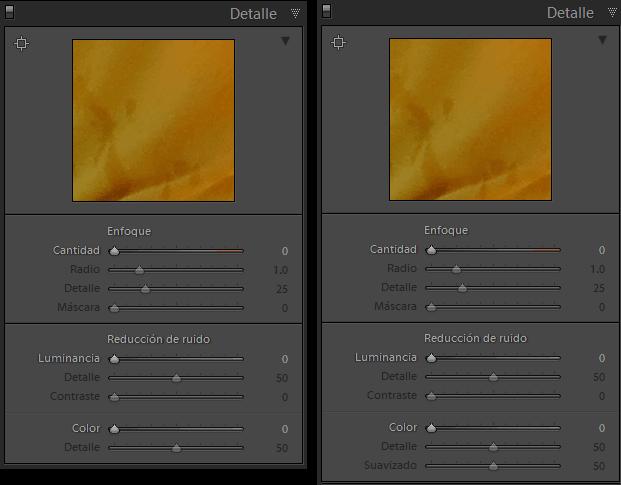 Opciones de detalle en Lightroom 5.0 (izquierda) y 5.2 (derecha)