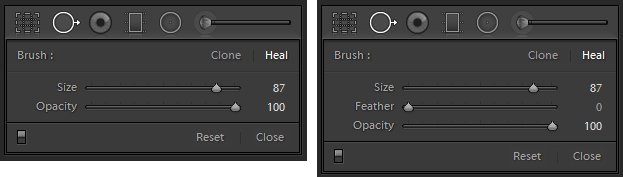 Healing brush options in Lightroom 5.0 (left) and 5.2 (right)