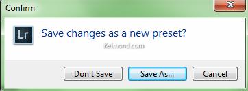 Saving the preset